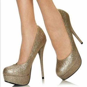 BRASH Gold Glitter Heels